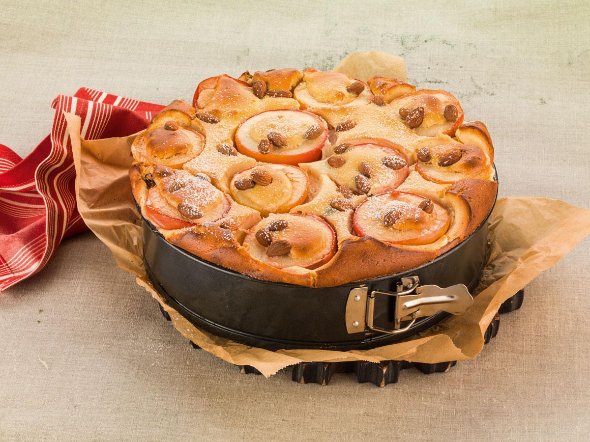 Apfelkuchen in Backform - dekoriert