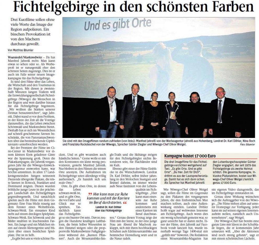 Zeitung Bericht Region Imagefilm Wunsiedel Marktredwitz